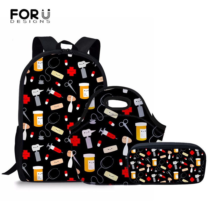 FORUDESIGNS School Bags Set for Girls Boys Happy Doctor Orthopedic Backpack Schoolbag Kids Primary School Backpacks Satchel