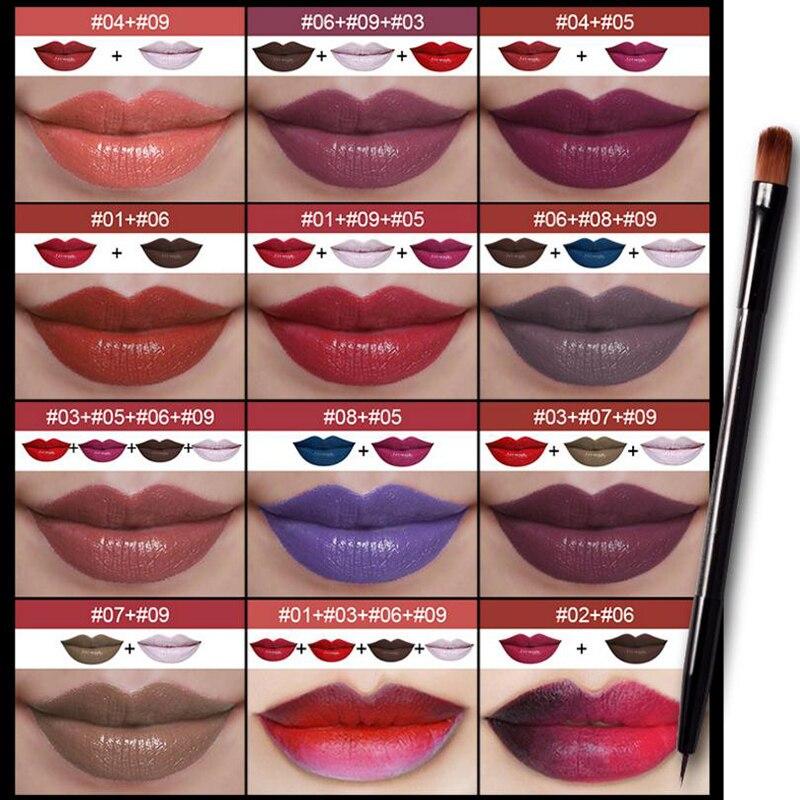 Assez Pudaier 9 Couleur Rouge À Lèvres Palette Pigment Rouge Nude Bleu  BI58