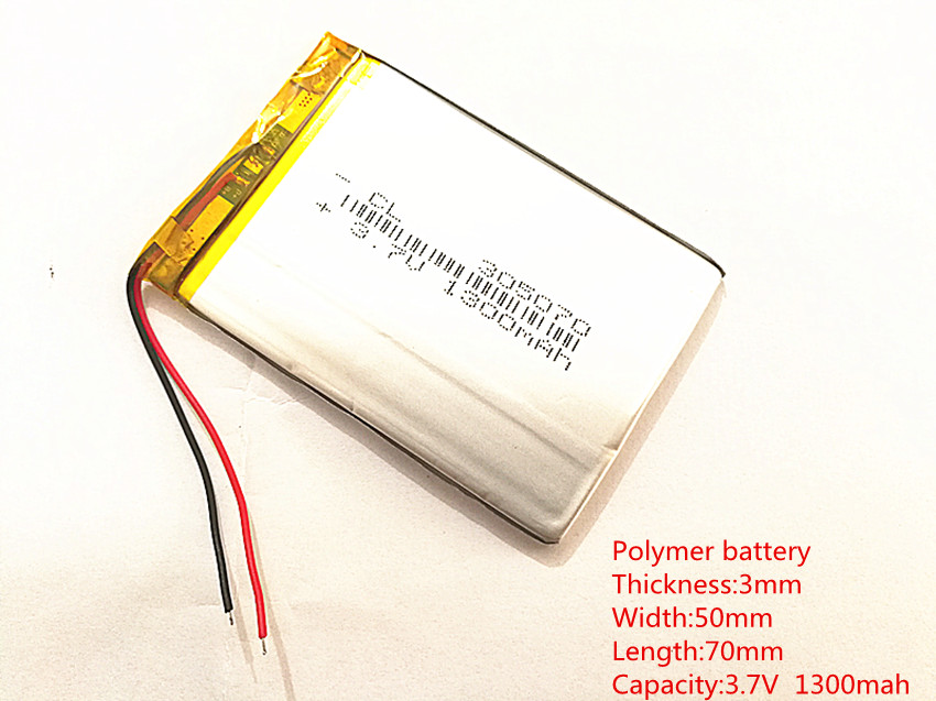3.7V 1300mAh 305070 Lithium Polymer LiPo Rechargeable Battery ion cells For Mp3 Mp4 Mp5 DIY PAD DVD E-book bluetooth headset3.7V 1300mAh 305070 Lithium Polymer LiPo Rechargeable Battery ion cells For Mp3 Mp4 Mp5 DIY PAD DVD E-book bluetooth headset