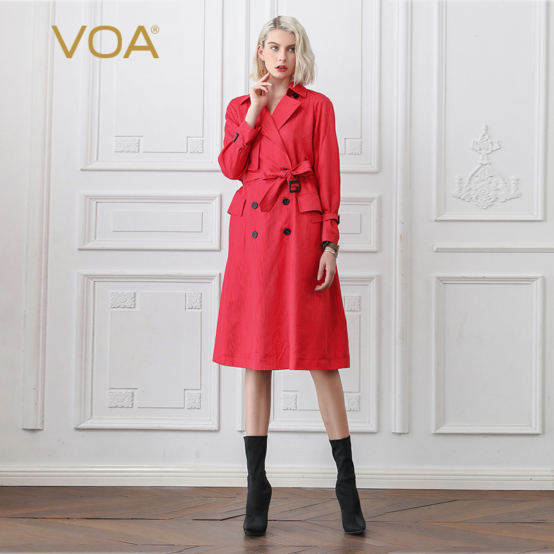 VOA Vermillion Red Cool Silk Trench Coat F370