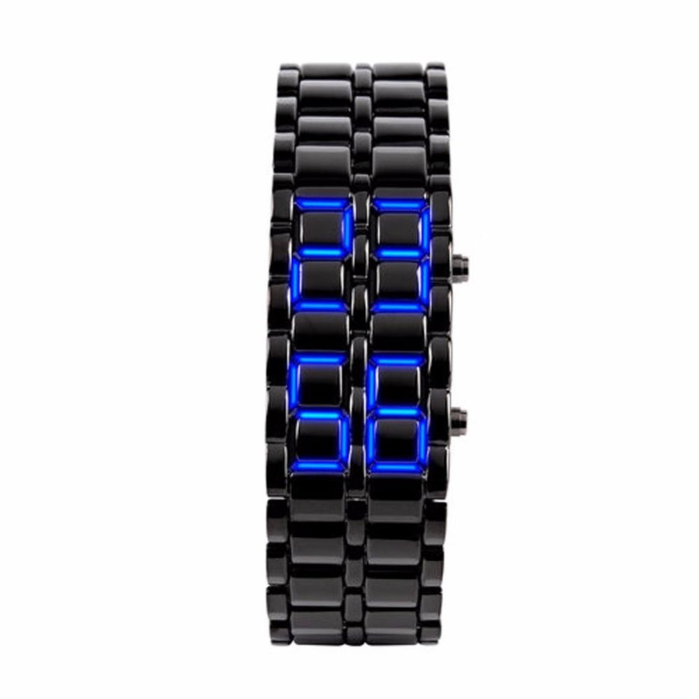 Men Iron Samurai Stainless Steel Watch LED Digital Watches Women Lover Bracelet Wristwatches Gai