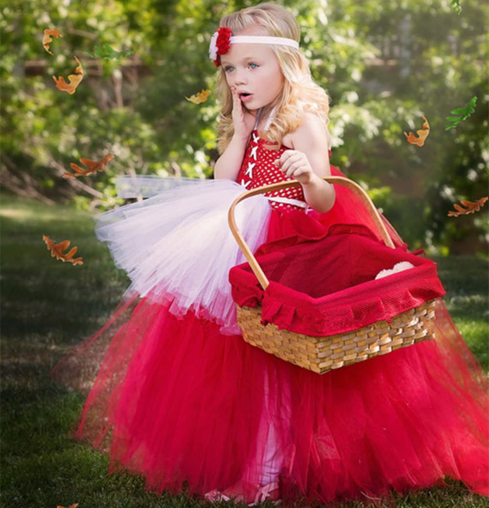 Newest Red Flower Girl Dress Baby Girls Birthday Dress Baptism Christening Party Wedding Tutu for Infant Princess Cosplay Dress 2017 kids clothes flower girl party dress baby birthday baptism lace tutu dresses for girls infant christening gown vestido 2 9y