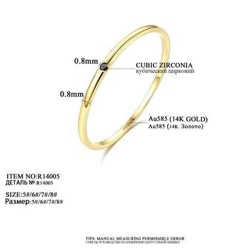 Yellow Gold Petite Black Cubic Zircon Ring 2