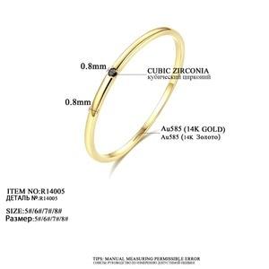 Image 3 - Czcity 100% 14 18kイエローゴールド小柄黒立方ジルコンの結婚指輪シンプルな薄型の円バンドリング罰金ジュエリービジュー