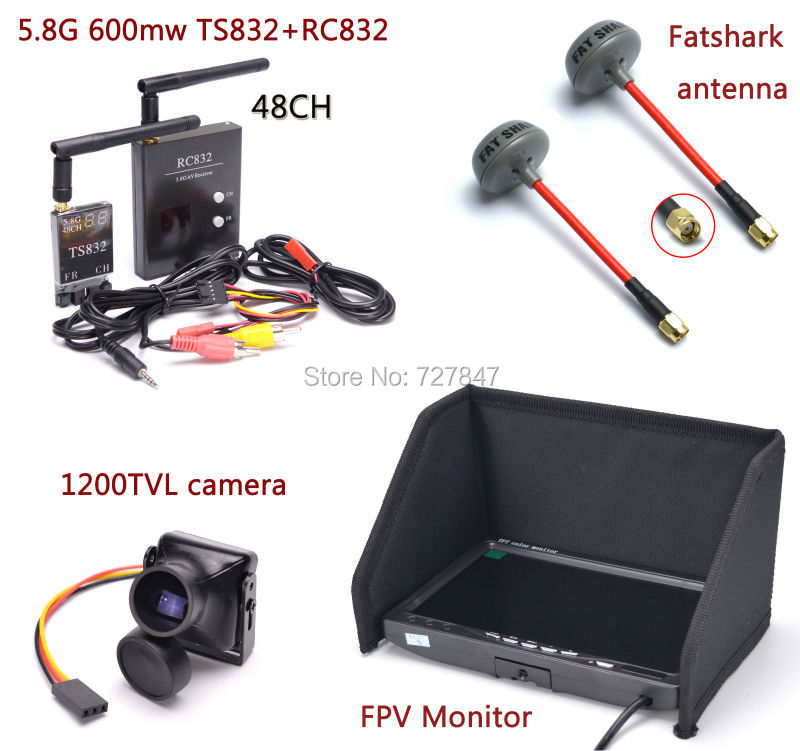 FPV Kit Combo System 1200TVL Camera 5 8Ghz 600mw 48CH TS832 RC832 Plus 7 inch LCD
