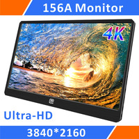 15.6UHD 4K Portable Monitor 3840*2160 IPS Display Screen With USB Type C/HDMI/Display Port Input For PS4 Pro PS3 Xbox One(156A)