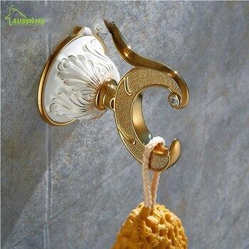 Ganchos De Pared De Oro | Chino Retro Estilo Oro Cerámica Abrigo Gancho Toalla Anillo Europeo Retro Pared Ganchos Colgador De Pared Accesorios De Baño HY-31-432