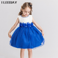 Sequined Baby Girls Dress Brand Summer Style Floral Kids Pearl Beading Evening Party Dress Infant Flower