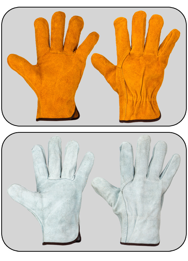 Купить с кэшбэком Free shipping 12pairs of cow split leather working glove hand protecting gloves short cuff good feeling heating prevention