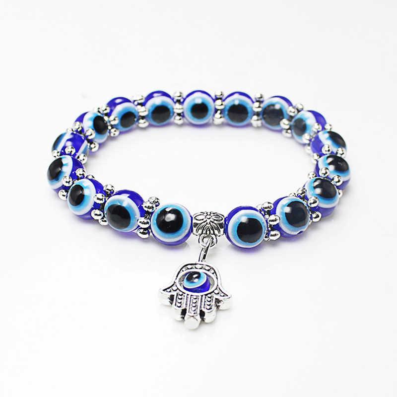 Fashion Retro Blue Evil Eye Hamsa Hand Fatima Palm Bracelets for Women Beads Chain Vintage Jewelry Gifts Girls Jewelry