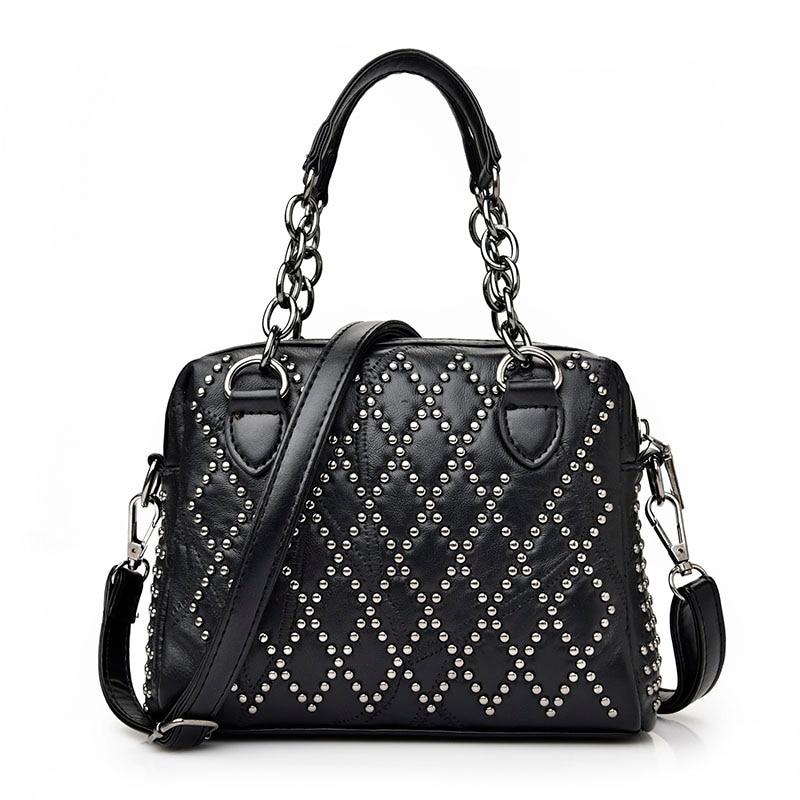 ФОТО Genuine Leather + sheepskin Women's Totes Bag New Fashion Brand Handbag Lady Shoulder Bags Female Elegant Messenger rivet Bag