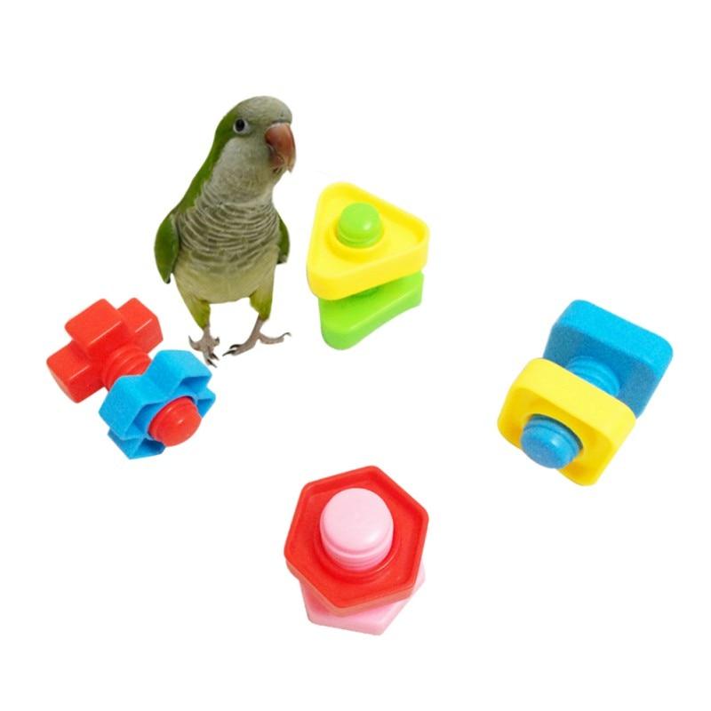 Onvermoeibaar 2019 4 Stuks Papegaai Onderwijs Speelgoed Papegaai Intelligentie Speelgoed Plastic Schroef Chew Toy Training Vogel Speelgoed Willekeurige Kleur