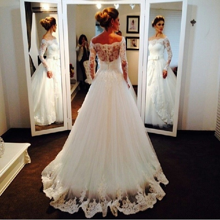 A Line Lace Long Sleeve Vintage Wedding Dress Custom Made Boat Neck Dress For Wedding With Bow Belt 2016