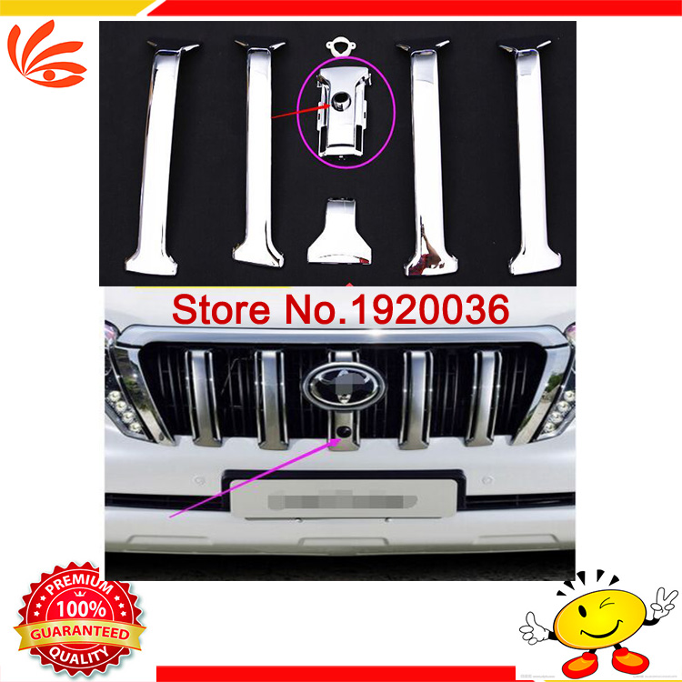 Car styling ABS Chrome Front Grille Grill Camera Cover Trims For Toyota Prado J150 VX Land