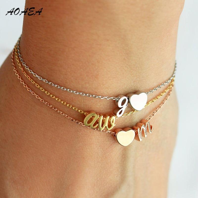 Aço inoxidável duas letras pulseira coração-em forma de iniciais cursivas inicial pulseira charme pulseira presente da dama de honra dois encantos