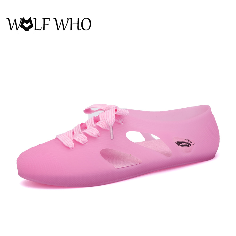 WOLF WHO Women Sandals Beach Shoes Lace-up Jelly Shoes 2017 New Women's Summer Shoes Zapatillas mujer Sandalias mujer 5 Colors free shipping candy color jelly sandals new plastic chain beach shoes chain flat bottomed out sandals lace up chains women shoes