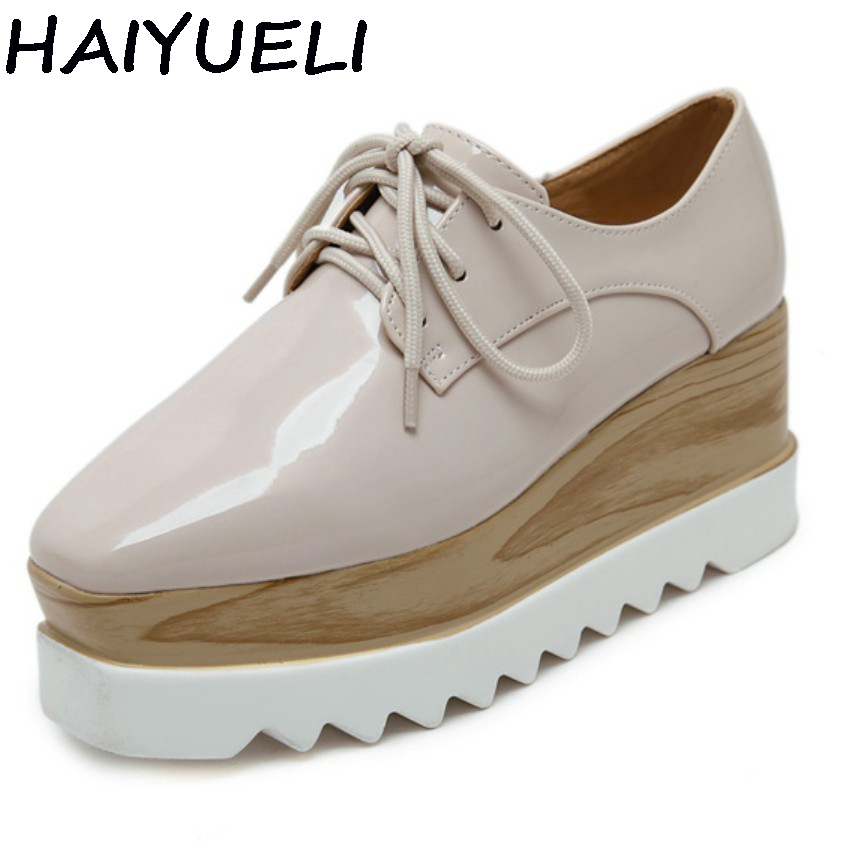 HAIYUELI Plain Concise Women Oxfords Preppy Style Girl Casual Platform Flat Heel Shoes Creepers Vinyl Glossy
