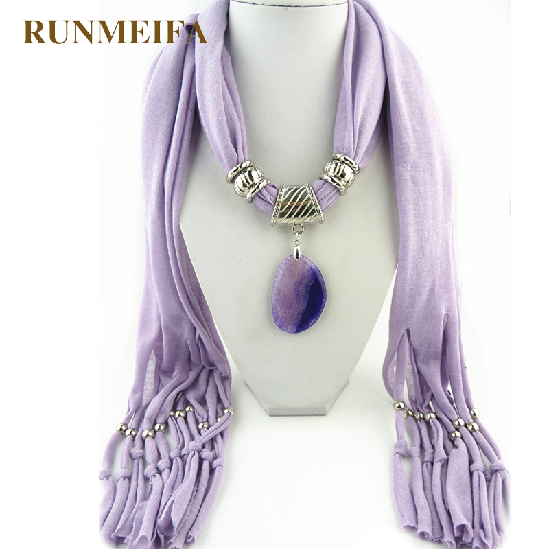 pendant agate stone scarf for women 2016 fashion autumn winter tassel scarf 10 colors cotton cape gift for wife free shipping