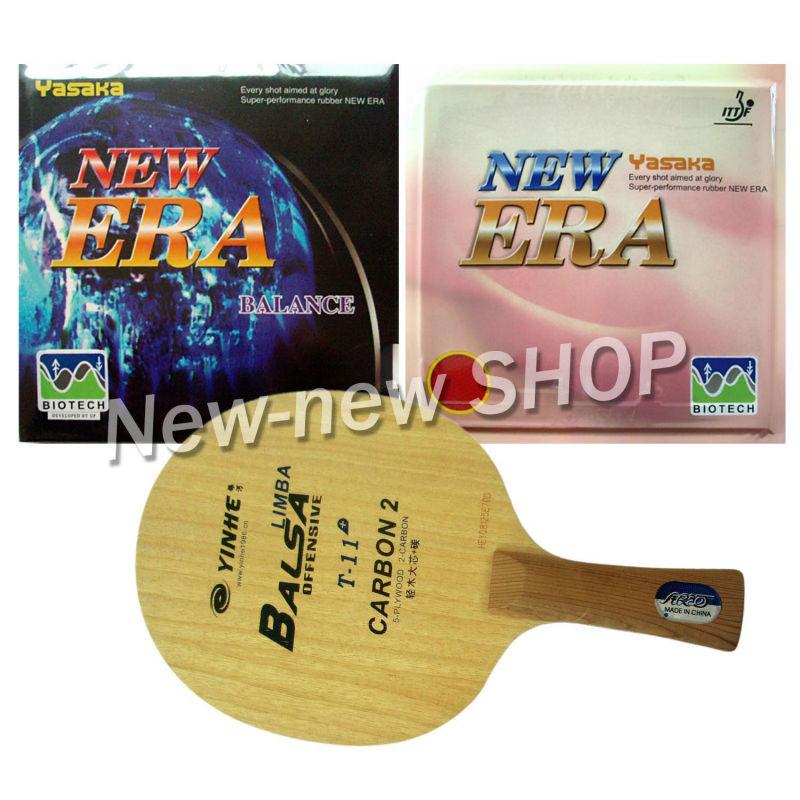 Pro Combo Paddle Racket Yinhe T-11+ + Yasaka ERA NO ITTF BIOTECH BALANCE and NO ITTF 40mm Shakehand long handle FL