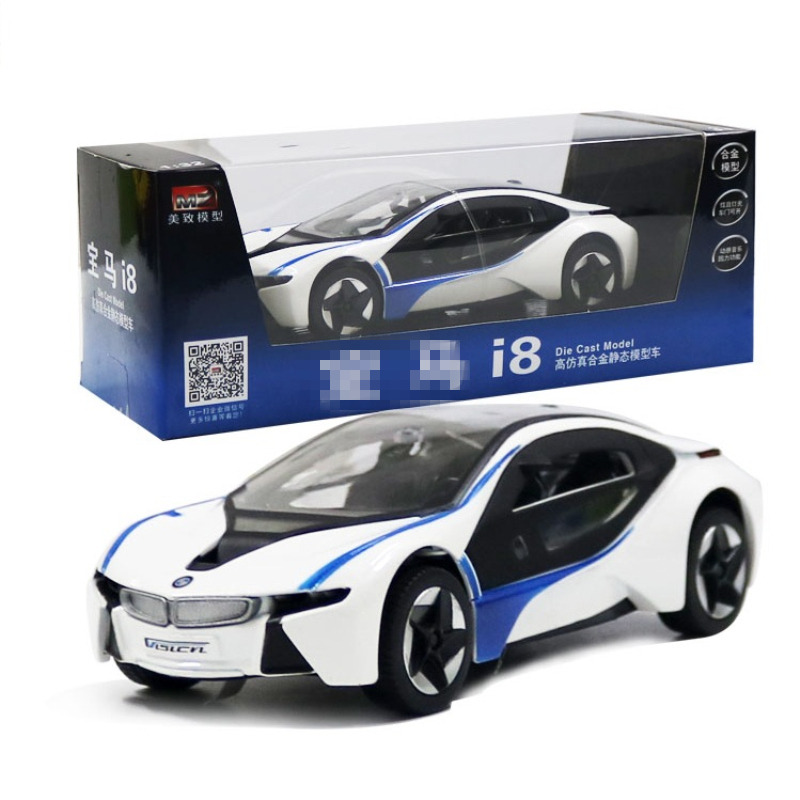 mz 132 bm i8 sports car model metallic material kids toys open the door sound and light back to power best gift