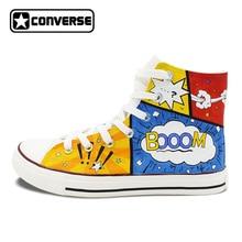 Новый уникальный ручной росписью обувь Converse All Star оригинальный Дизайн мультфильм диалоговое окно белый холст кроссовки рождественские подарки