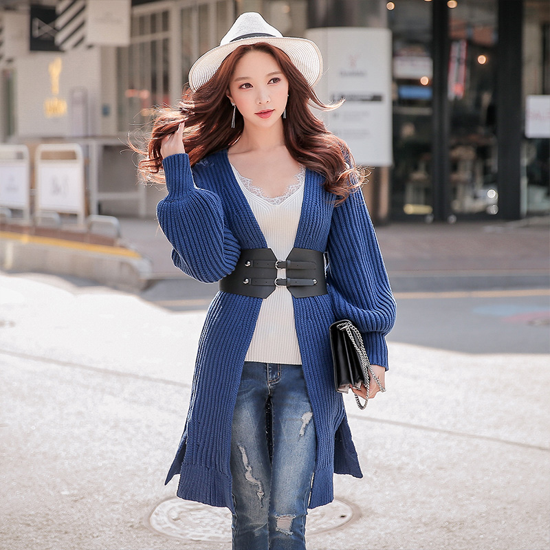 Dabuwawa Elegant Lantern Sleeve Loose Casual Long Cardigans Sweater Women Ladies New Royal Blue Sweaters Outwear D18CKJ006