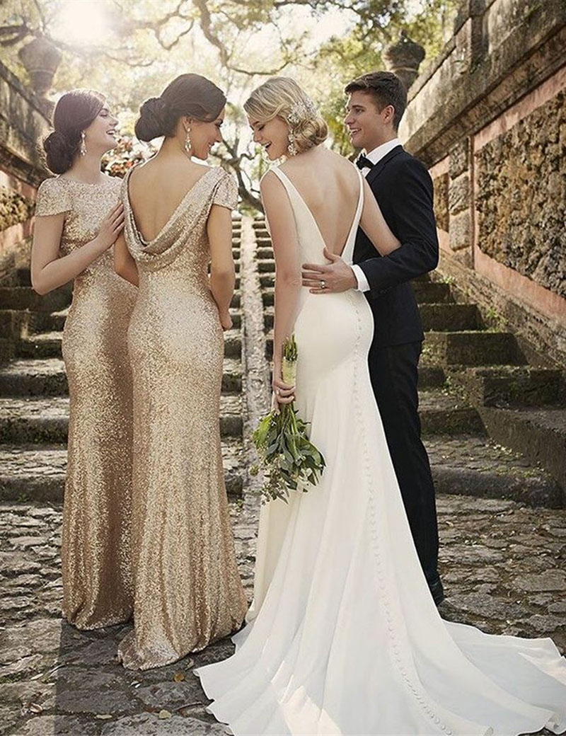 2017 Hot Luxury Dresses Rose Gold Sequins Bridesmaid Dresses Mermaid Drapped Back Maid Of Honor Bling