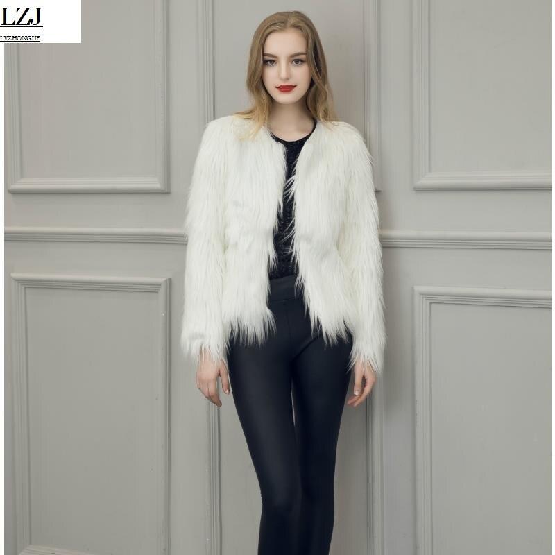 LZJ Elegant faux fur coat women Fluffy warm long sleeve female outerwear Black chic autumn winter coat jacket hairy overcoat