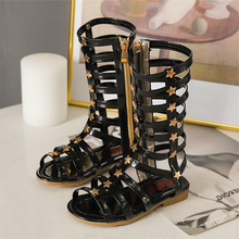 COZULMA New Girls Roman Style High Sandals Children Summer Dress Shoes for Kids Party Rivets Soft Bottom
