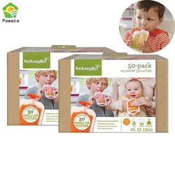 50pcs Single Use Food Pouch Packaging  Squeeze Pouch Plastic Smoothie Squeeze Bags Refillable Fresh Storage Bag With Lid