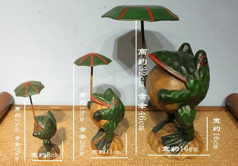 Gros thaïlande artisanat traditionnel en bois grenouille chanceux Art Figurines Miniatures décoratives décor de bureau à la maison - 2