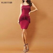 High quality Women Spaghetti Strap Summer Dress 2018 New Sleeveless Tassel Bodycon Club Party Vestidos