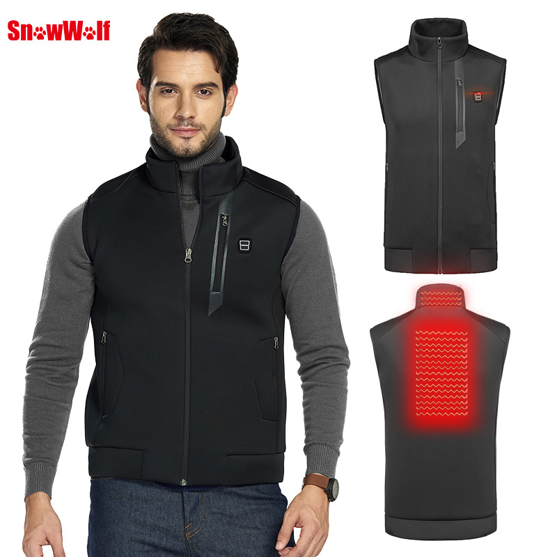 SNOWWOLF 2019 Men Winter Heated Vest Outdoor USB heating Fishing Clothes Electric heated Tactical fishing Jacket