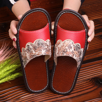 STONE VILLAGE Plus Size 35-44 Summer Indoor Household Home Slippers Non-Slip Couple Leather Slippers Shoes Men Women Slippers 3