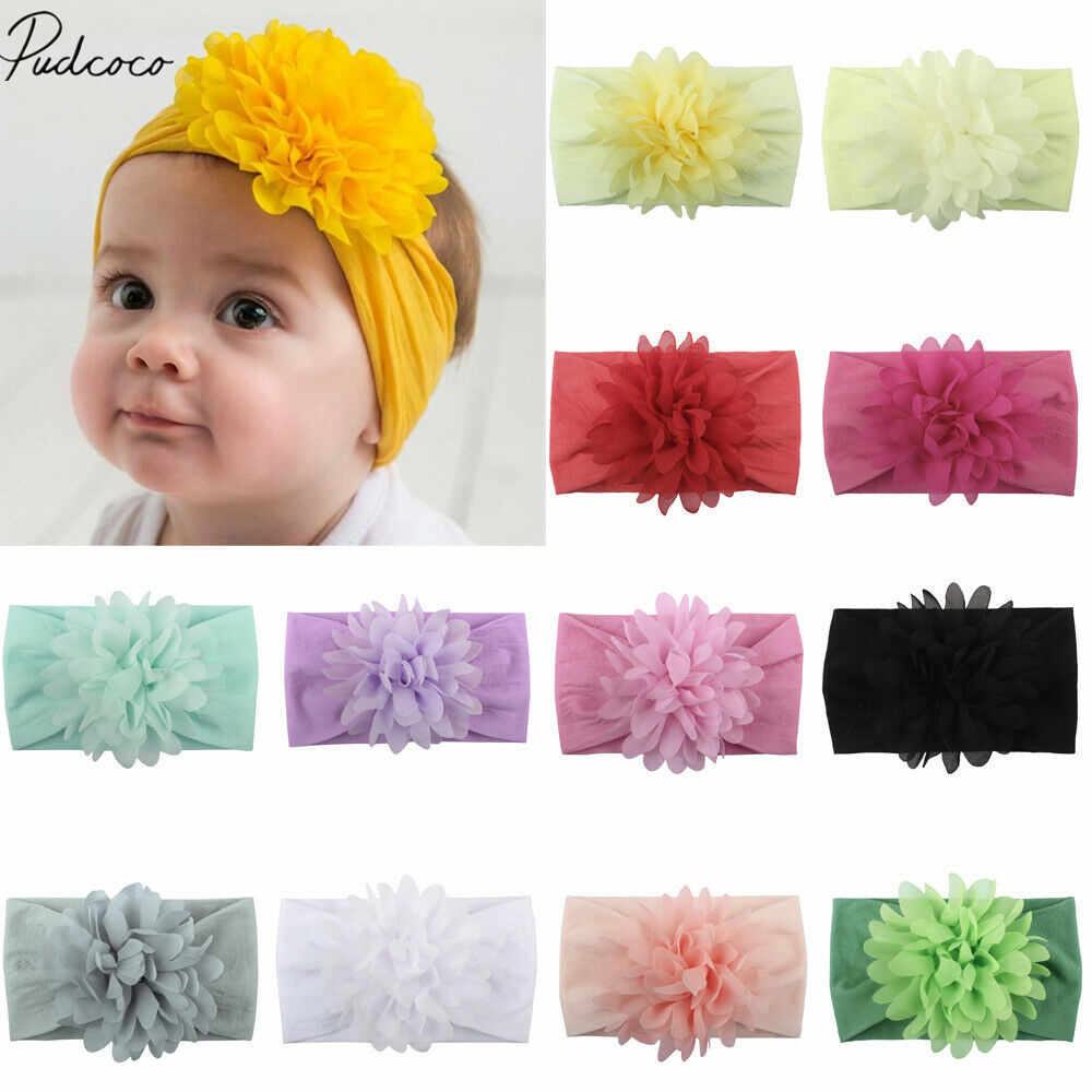 2019 Baby Accessories Beauty Baby Girls Boys Infant Toddler Flower Bow Headband Hair Chiffon Big Flower Solid Headband Props