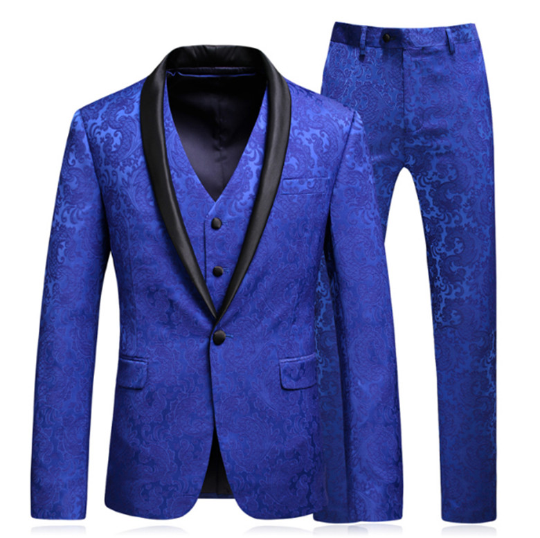 Desirable Time Mens Royal Blue Floral Suits with Pants Shawl Collar Prom Groom Wedding Dress Suits for Men jacket+Pants+vest+tie