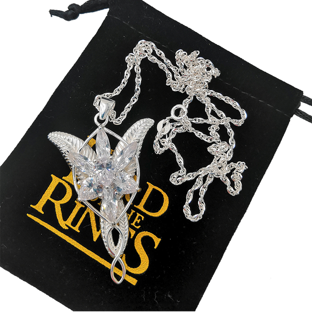 LOTR Arwen Evenstar S925 Sliver Pendant Necklace Elf Nekclace Sliver Jewelry New Year Valentines Day Gifts For Women Girls