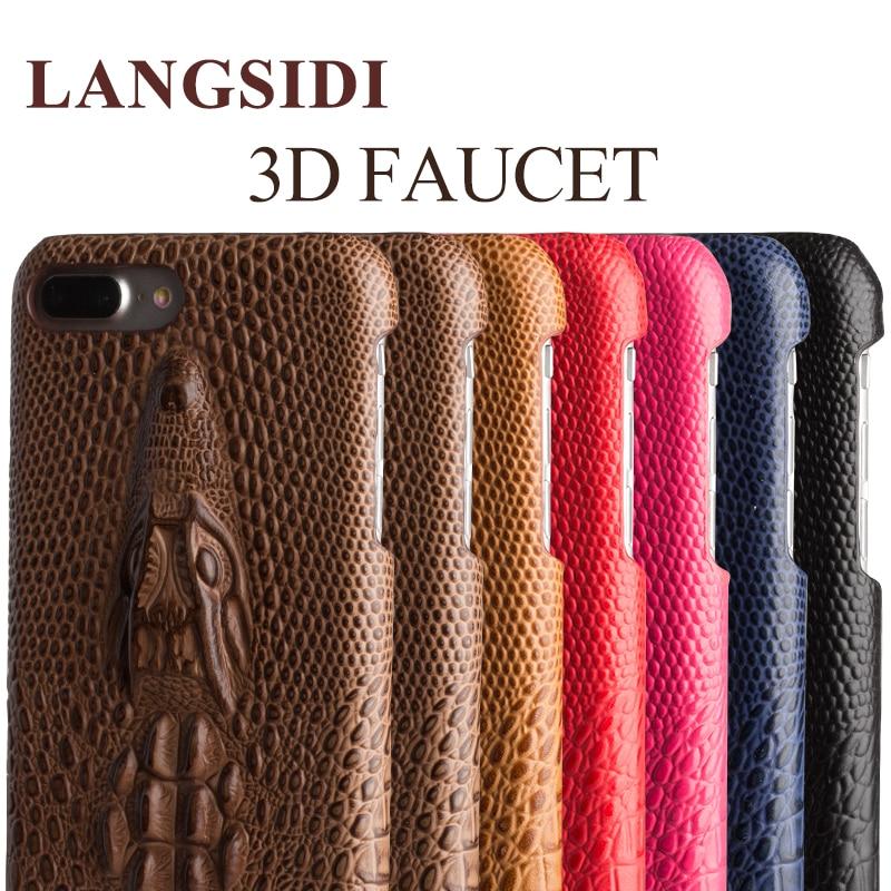 LANGSIDI handmade full custom handphone case 3D Faucet hard shell half back cover affixed For iPhone7 7P chassis leather models