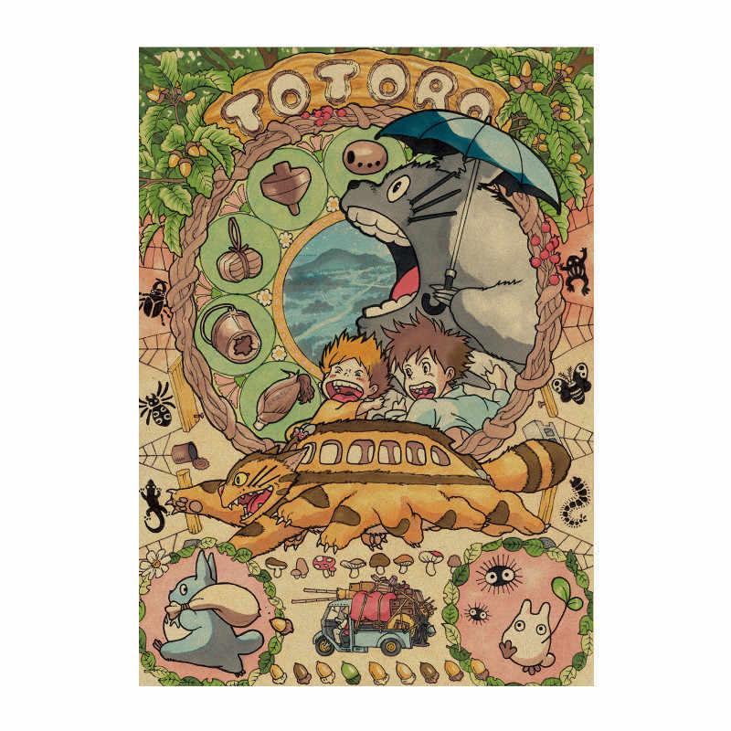 هاياو ميازاكي أنيمي جمع Totoro الرجعية كرافت ورقة المشارك مقهى زخارف للحانات اللوحة ملصقات جدار 51x35.5 سنتيمتر
