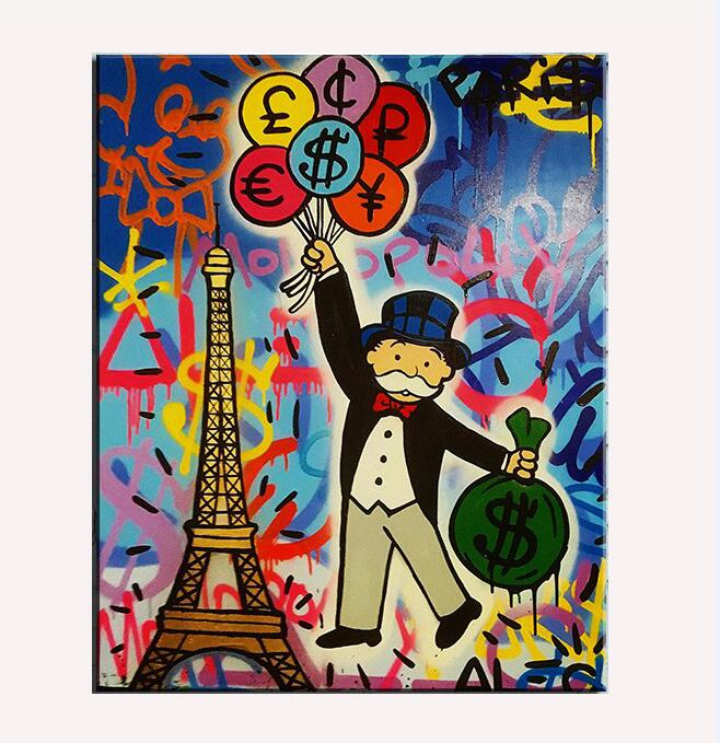 Handmade pop art Alec Graffiti art Custom painting money on canvas wall urban pictures for living room street art