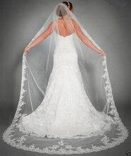 Uma camada de tule branco marfim borda do laço véu casamento elegante veu de noiva longo véus noiva voile mariage acessórios casamento