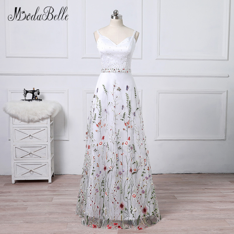 modabelle Women Prom Dress With Flower Beading Embroidery White Long  Elegant Floral Evening Gown 2018 New Arrival 603183167df3