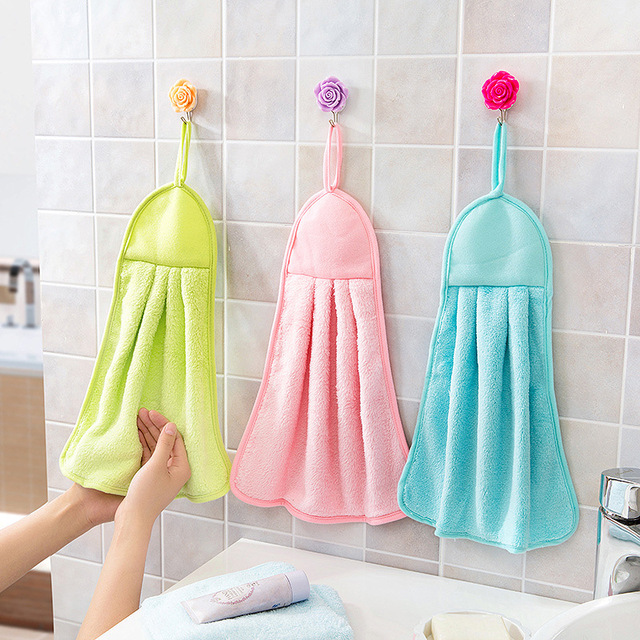 Exceptionnel Hand Towel Plush Nursery Hanging Kitchen Bathroom Thick Soft Cloth Wipe  Towel Cotton Non Oil