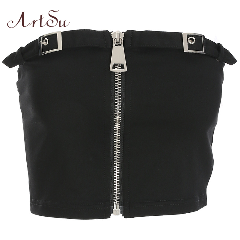 ArtSu Summer Sexy Off Shoulder Black Crop Top Zipper Fashion Strapless Short Top Camisole Backless Streetwear Fitness ASVE20289