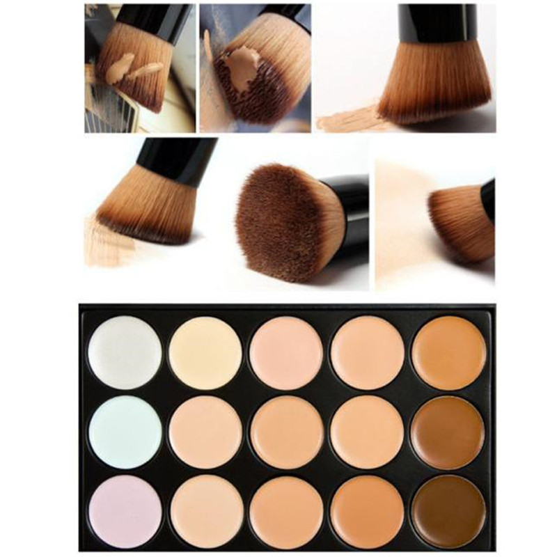 Professional Makeup Cosmetics Kits 15 Colors Concealer Contour Palette + Water Sponge Puff + Makeup Brush Eyeshadow Blusher Tool makeup base color corrector contour cream concealer palette
