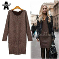 ACHIEWELL Plus Size 5XL Autumn Women Dress Sweater O Neck Long Sleeve Brown Straight Knee Length Women Dress