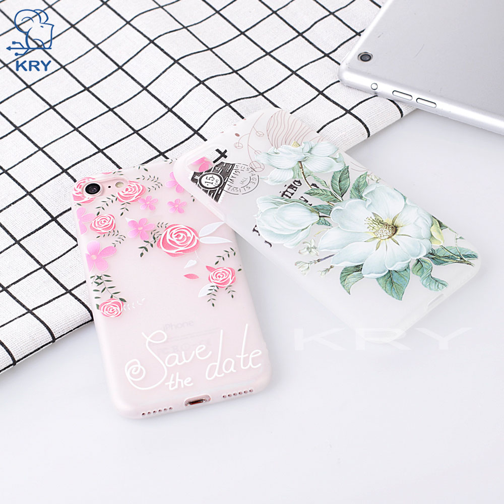 KRY 3D Relief Flower Phone Cases For iPhone X Case Soft TPU Silicone Cover For iPhone 6S Case 6 5 5s Cases 7 8 Plus Capa Coque