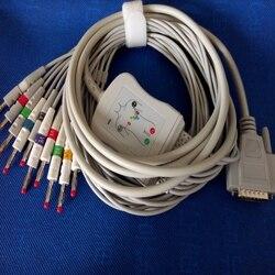 Compatible para Nihon Kohden ECG-1250... ECG-1350 ECG electrocardiograma Cable con hilados conductores 10 lleva ECG médica Cable 4,0 Banana final AHA TPU