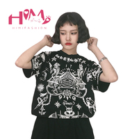 Japanese Harajuku Style Women T Shirt Summer Skeleton Star Graphic Lovers T Shirts Punk Oversize Female