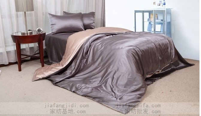 Luxury Silver Grey Beige Silk Bedding Set Queen King Size Duvet Quilt Cover Bedspread Bed In A Bag Sheets Bedroom Linen Bedsheet Sets From Home